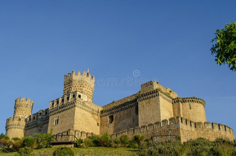 Castelo do Real Madrid do EL de Manzanares imagens de stock royalty free