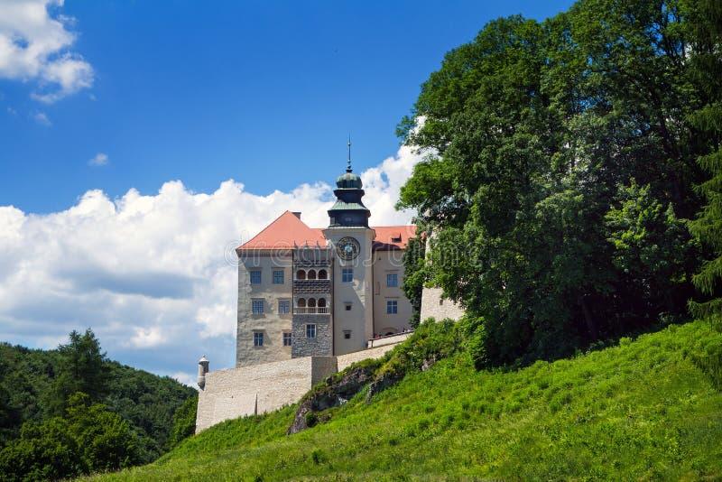 Castelo do skala de Pieskowa no vale do pradnik do rio, poland imagem de stock