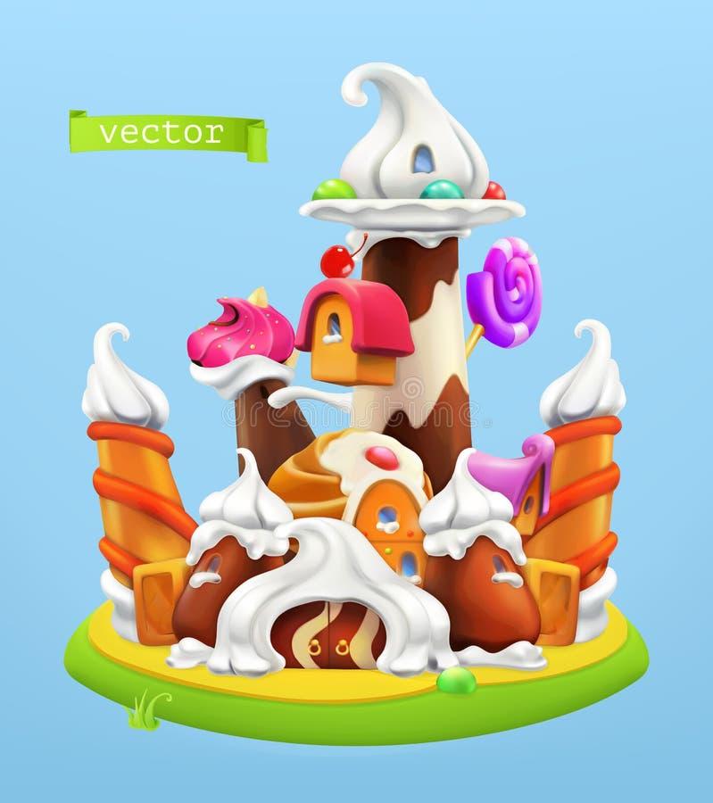 Castelo doce ?cone do vetor 3d ilustração do vetor