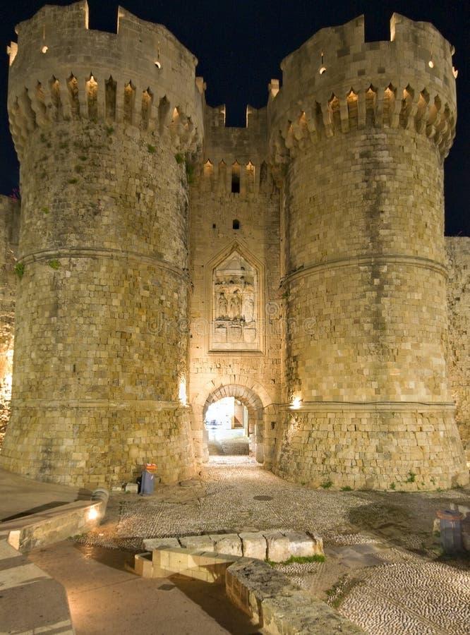Castelo dos cavaleiros no Rodes, Greece fotografia de stock