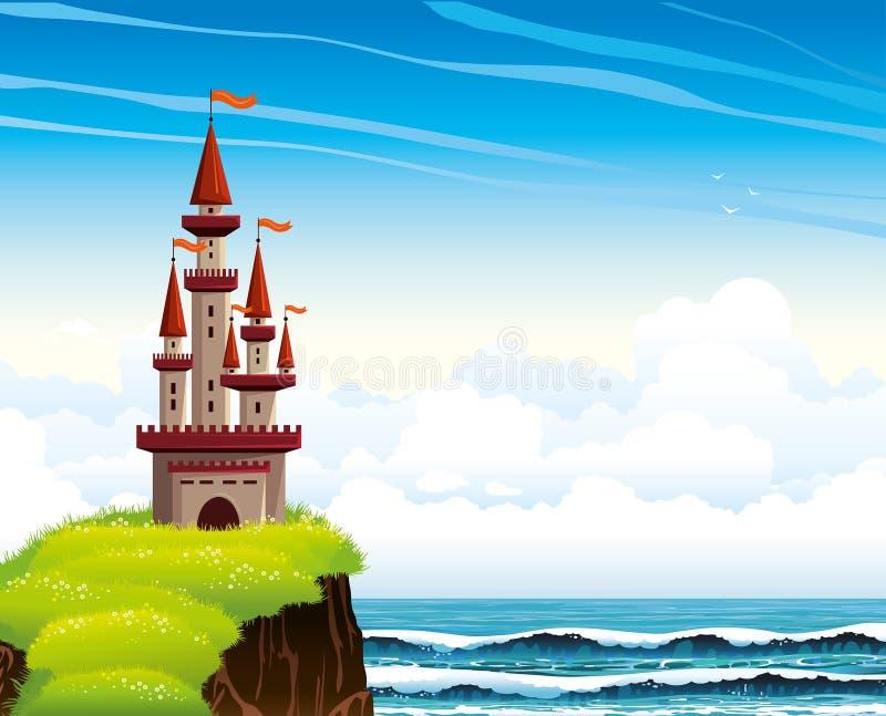 Castelo dos desenhos animados que está em um penhasco em um mar e em um céu do lue. ilustração stock