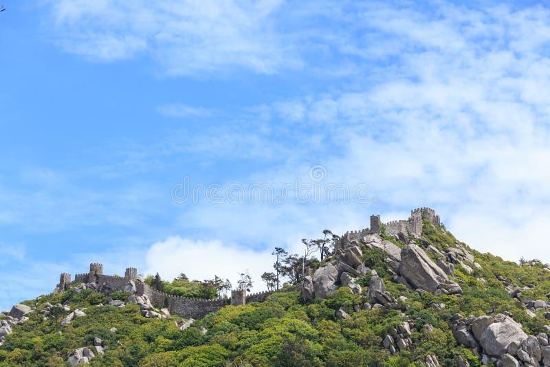 Castelo dos Mouros在辛特拉 库存照片