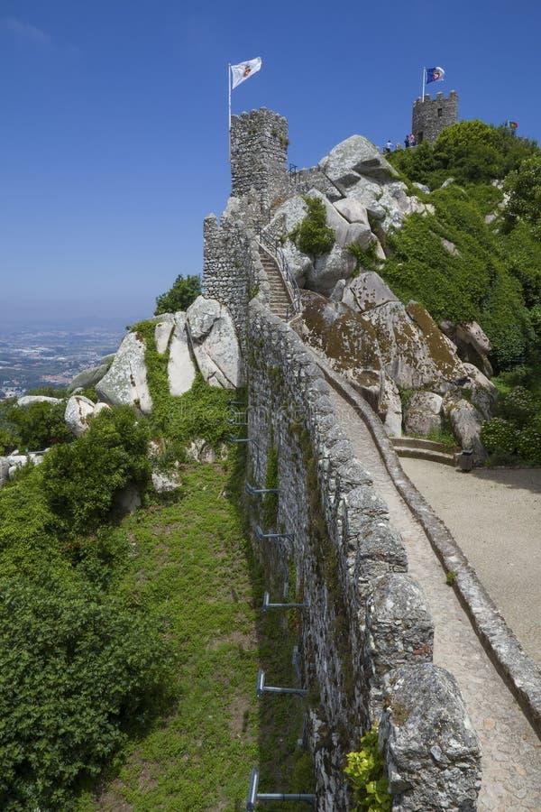 Castelo dos Mouros在Sintra,葡萄牙 库存图片
