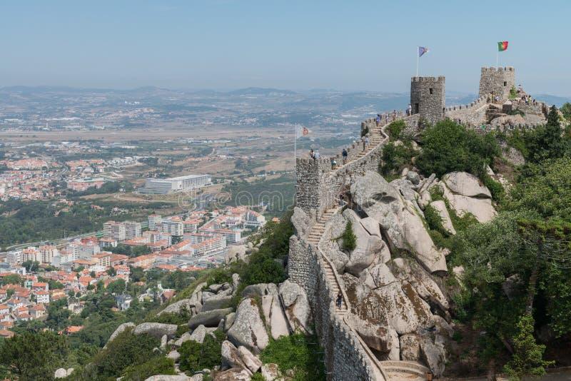 Castelo dos Mouros, średniowieczny portugalczyka kasztel w Sintra, Portugalia zdjęcia royalty free