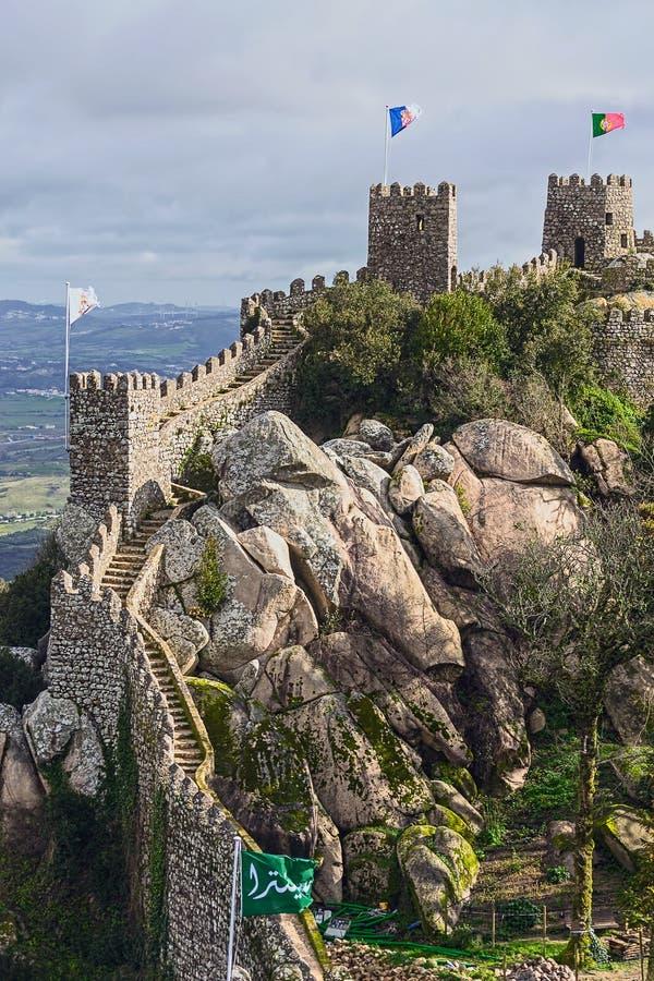 Schloss von macht, Sintra, Portugal-Markstein fest stockfoto