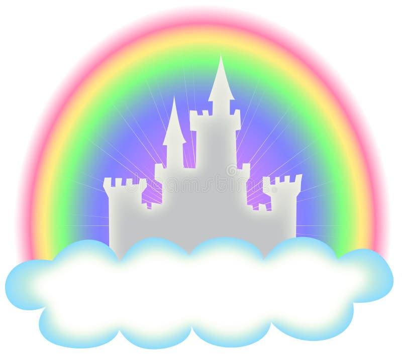 Castelo e arco-íris do conto de fadas ilustração do vetor