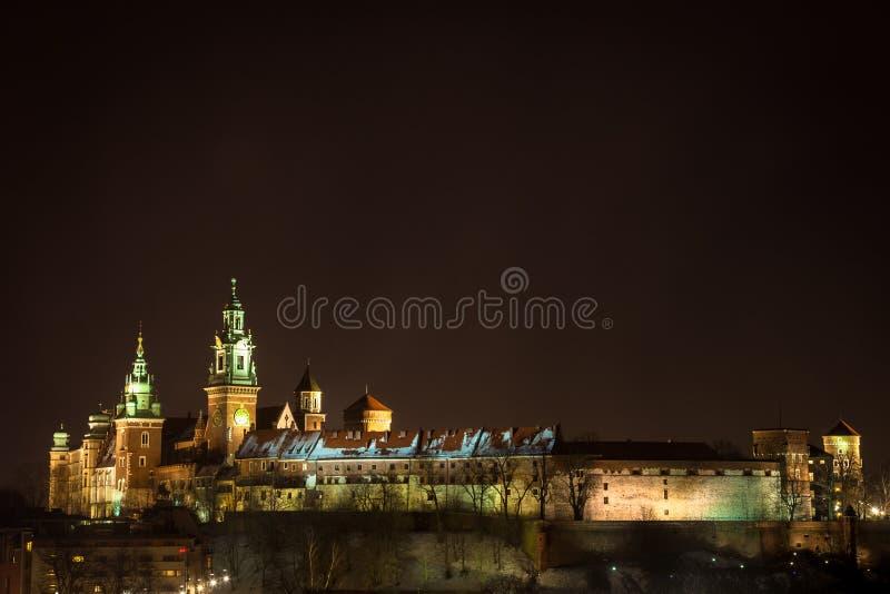 Castelo de Wawel em a noite. Krakow, Poland. foto de stock
