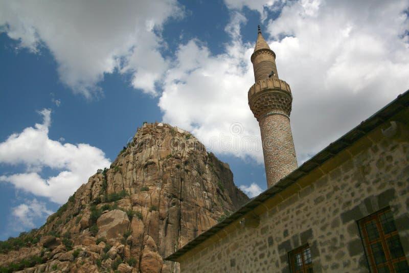 Castelo e minarete de Karahisar foto de stock