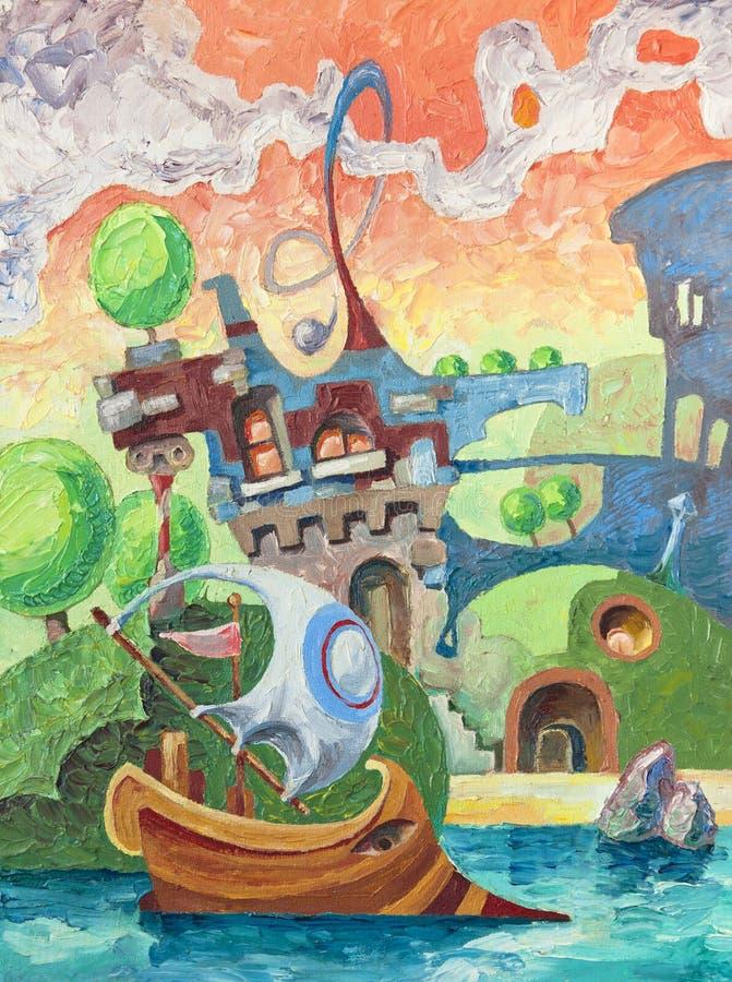 Castelo e navio ilustração royalty free