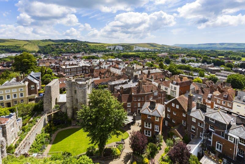 Castelo e paisagem de Lewes imagem de stock