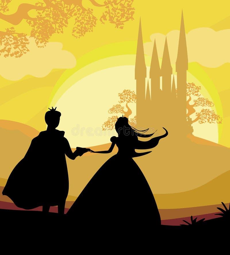 Castelo e princesa mágicos com príncipe ilustração royalty free