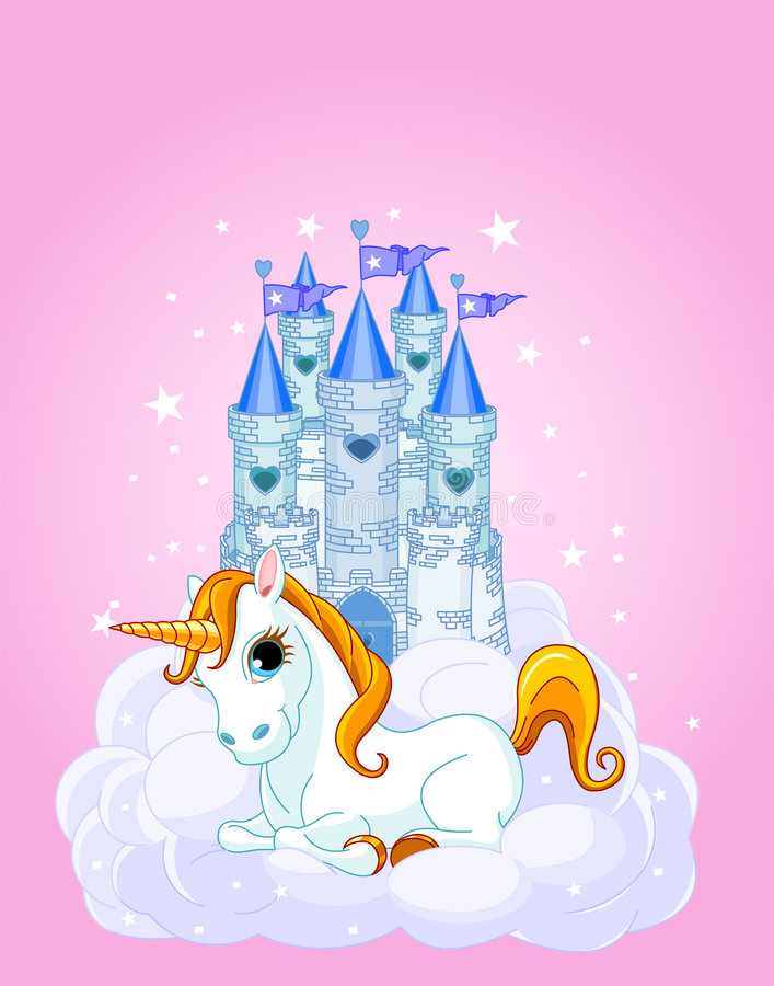 Castelo e unicórnio ilustração do vetor