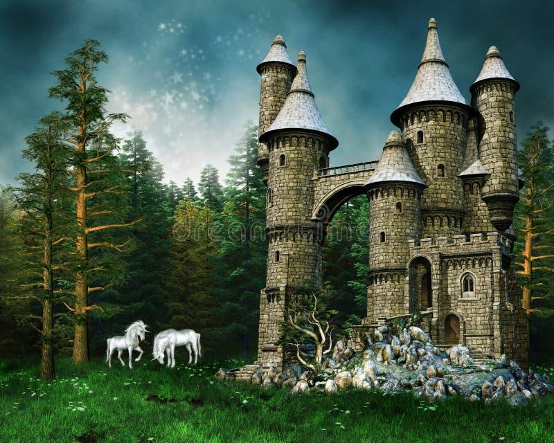 Castelo e unicórnios em um prado ilustração do vetor