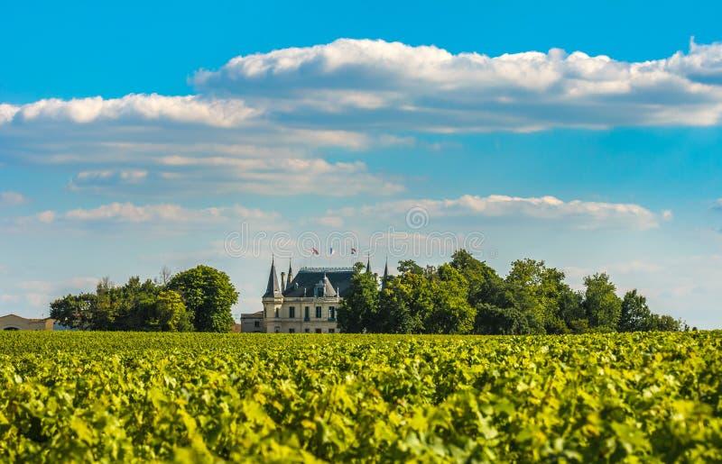Castelo e vinhedo em Margaux, Bord?us, France fotos de stock royalty free