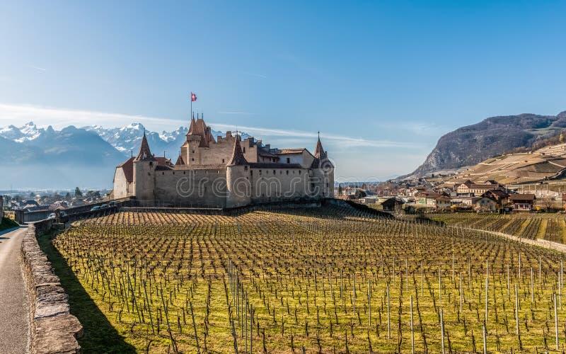 Castelo e vinhedo medievais famosos de Aigle na primavera switzerland fotos de stock royalty free