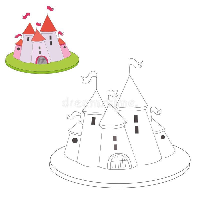 Castelo educacional dos desenhos animados do livro para colorir do jogo ilustração royalty free