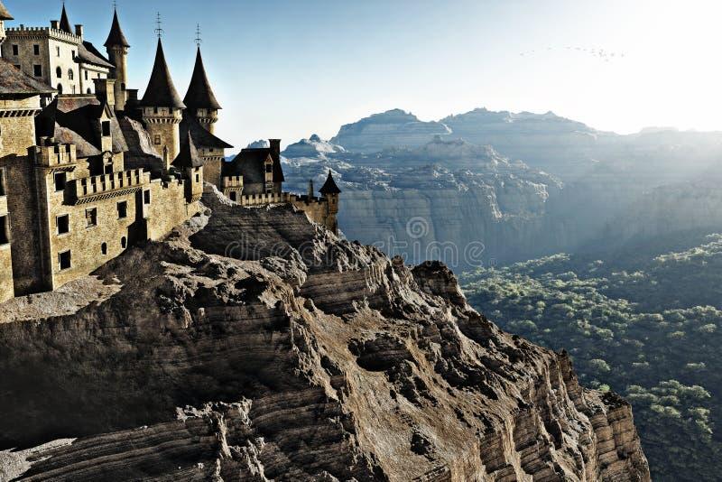 Castelo elevando-se da pedra alto acima nos penhascos que negligenciam um desfiladeiro da montanha com árvores de floresta abaixo imagens de stock royalty free