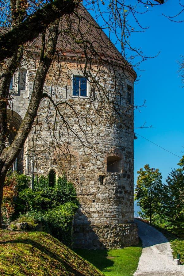 Castelo em Ljubljana, Eslovênia imagens de stock royalty free