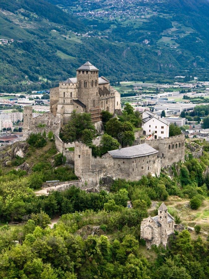 Castelo em Sion (Switzerland) imagens de stock royalty free
