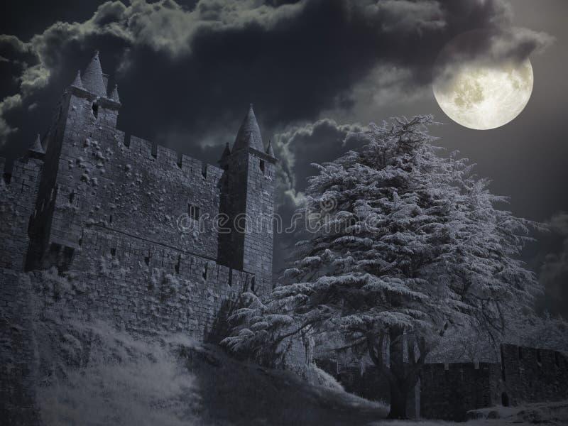 Castelo em uma noite da Lua cheia fotos de stock royalty free