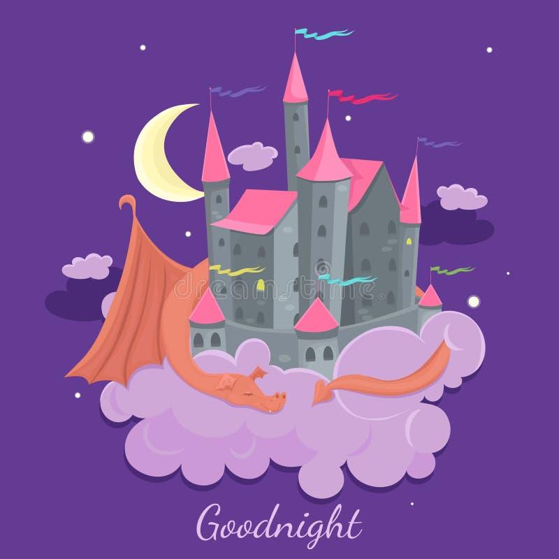Castelo em uma nuvem com um dragão do sono Ilustra??o das crian?as do conto de fadas Gr?ficos de vetor ilustração stock