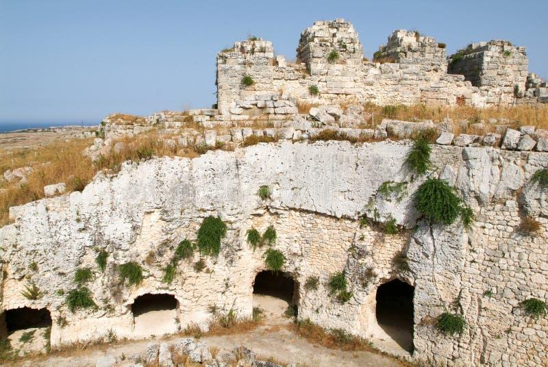 Castelo Euralio sobre Siracusa em Sicília foto de stock royalty free