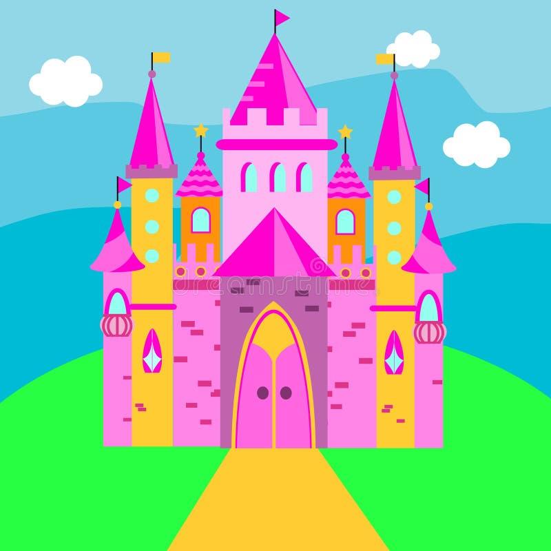 Castelo feericamente, palácio cor-de-rosa Ilustração para crianças, contos do vetor das crianças ilustração stock