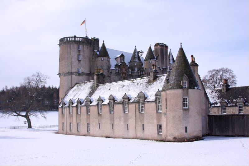 Castelo Fraser na neve fotografia de stock