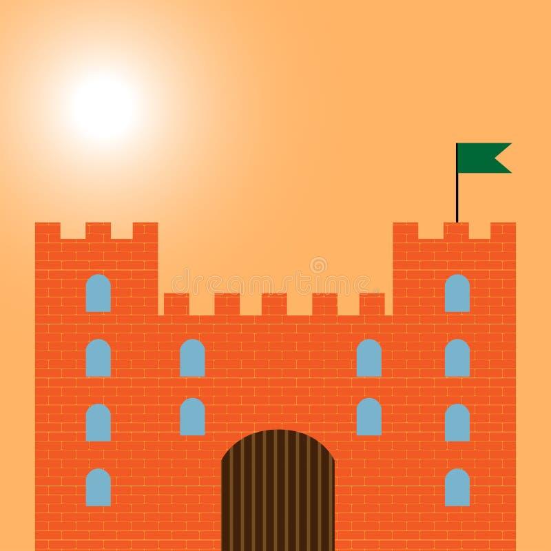 Castelo fresco da areia com torres ilustração royalty free