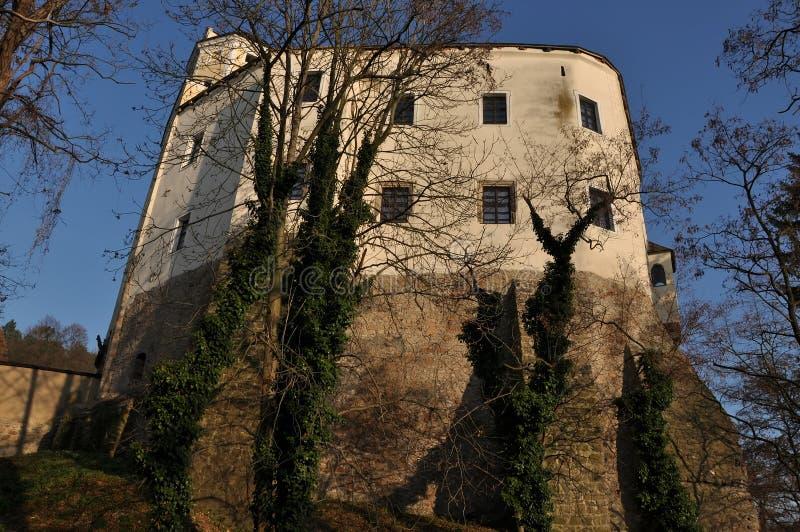 Castelo gótico Malenovice no parque fotos de stock