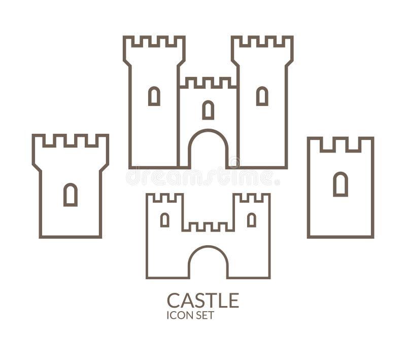 Castelo Grupo do ícone esboço ilustração stock