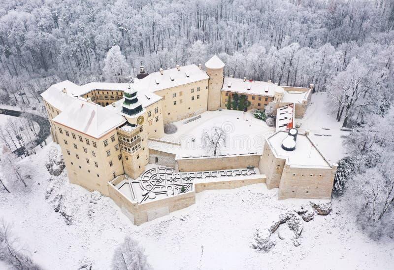 Castelo histórico aéreo Pieskowa Skala do renascimento da vista oh perto de Krakow no Polônia no inverno fotografia de stock royalty free