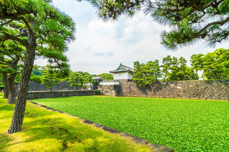 Castelo imperial do palácio da arquitetura velha bonita com fosso e fotos de stock