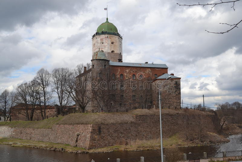 Castelo incrível de Viborg na mola imagem de stock