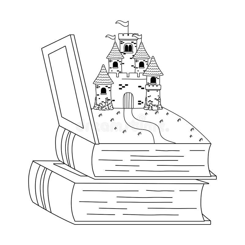 Castelo isolado dentro da ilustração do vetor do projeto do livro ilustração stock