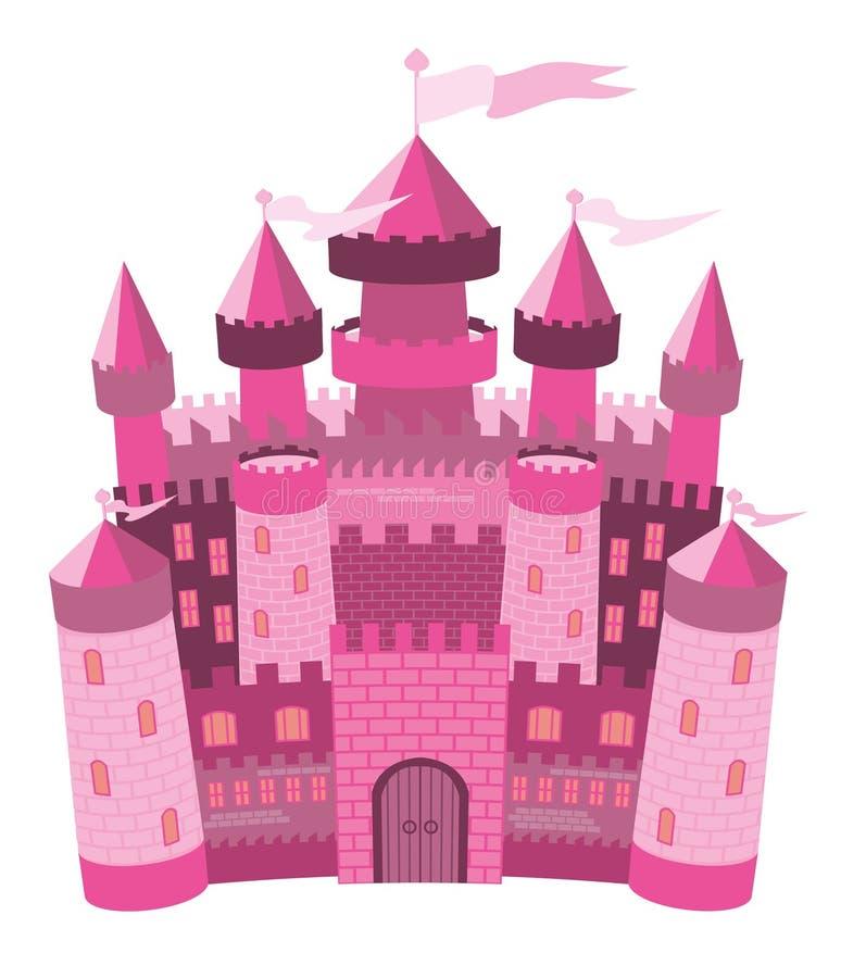 Castelo mágico cor-de-rosa do conto de fadas ilustração stock