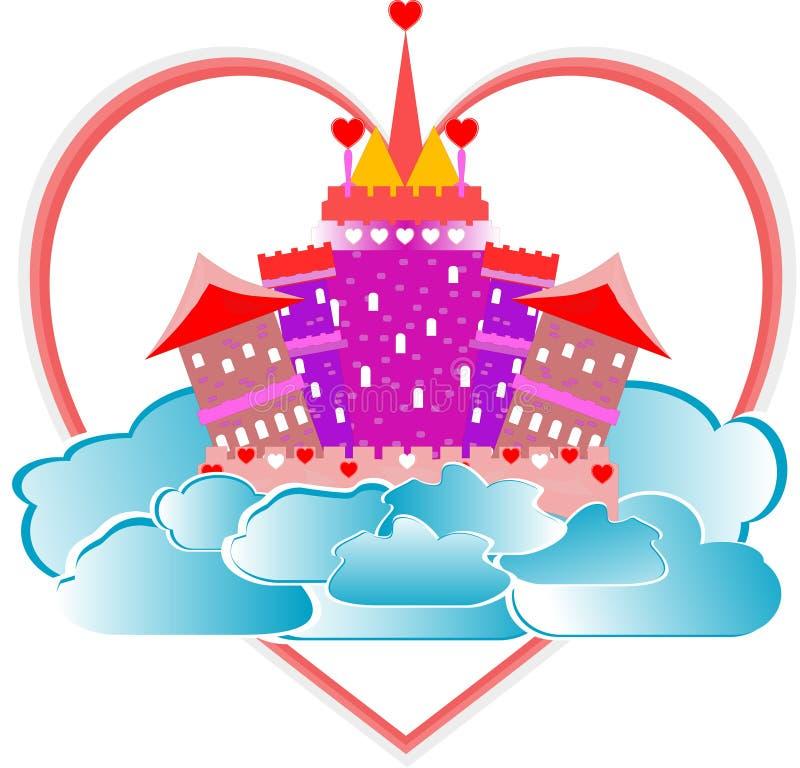 Castelo mágico da cor-de-rosa do conto de fadas com coração no céu ilustração royalty free