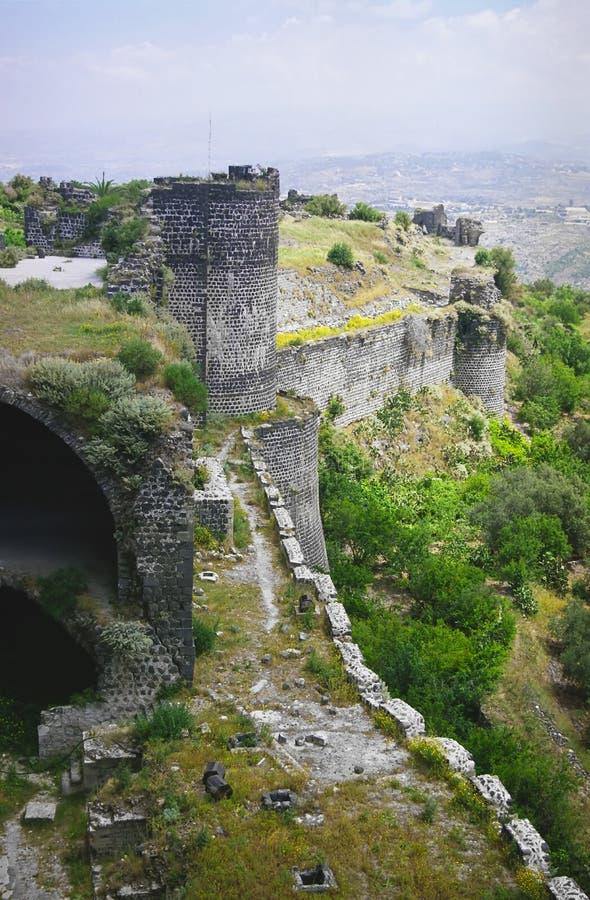 Castelo Margat - parede e torre fotografia de stock