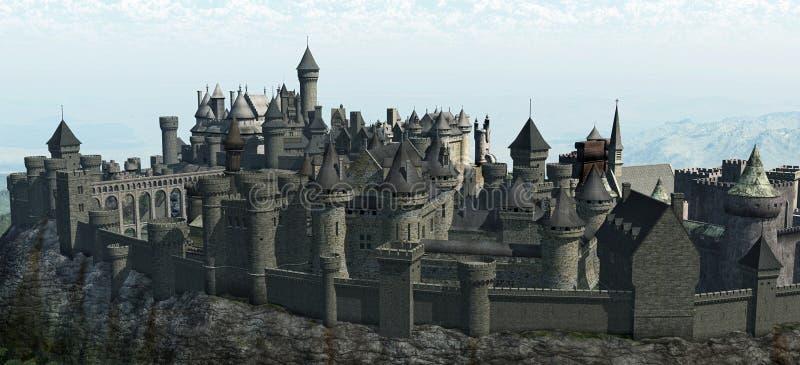 Castelo medieval da montanha ilustração do vetor