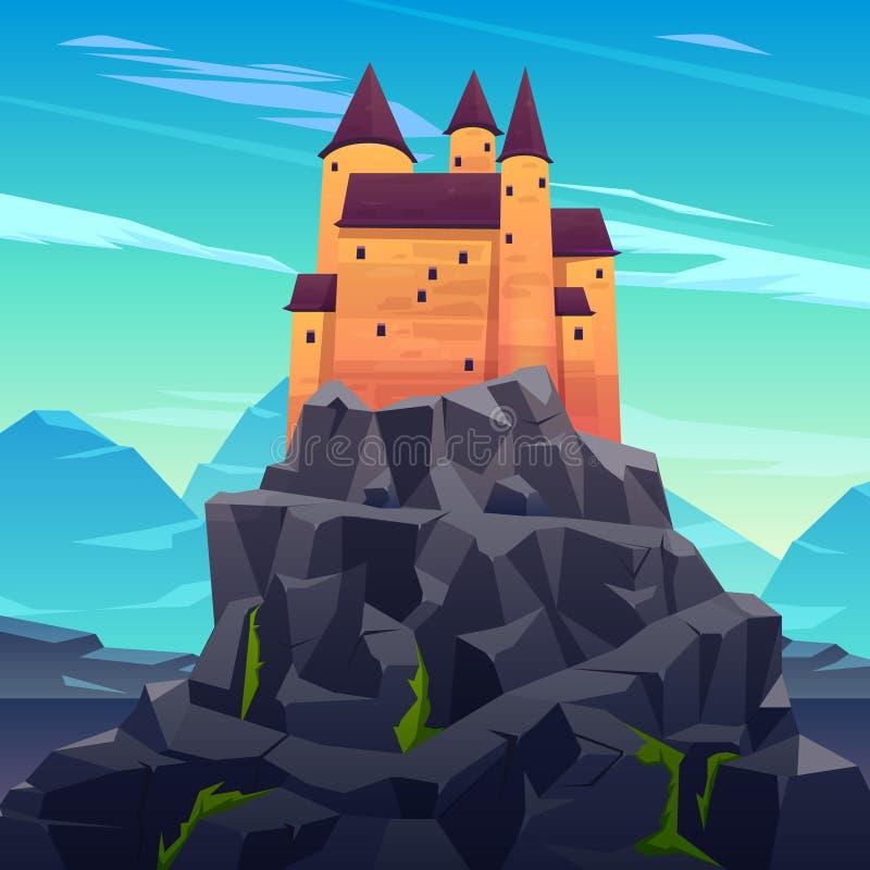 Castelo medieval da régua no vetor dos desenhos animados das montanhas ilustração stock