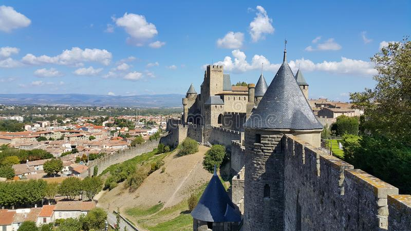 Castelo medieval de Carcassonne, Fran?a foto de stock royalty free