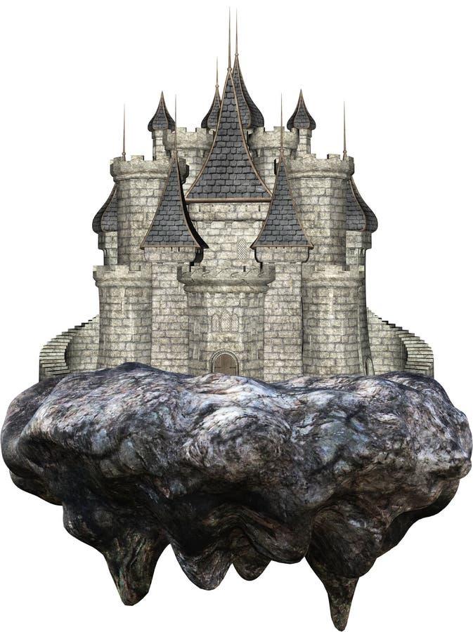 Castelo medieval de pedra de flutuação isolado ilustração do vetor