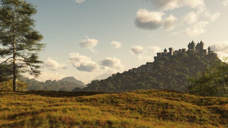 Castelo medieval distante ilustração do vetor