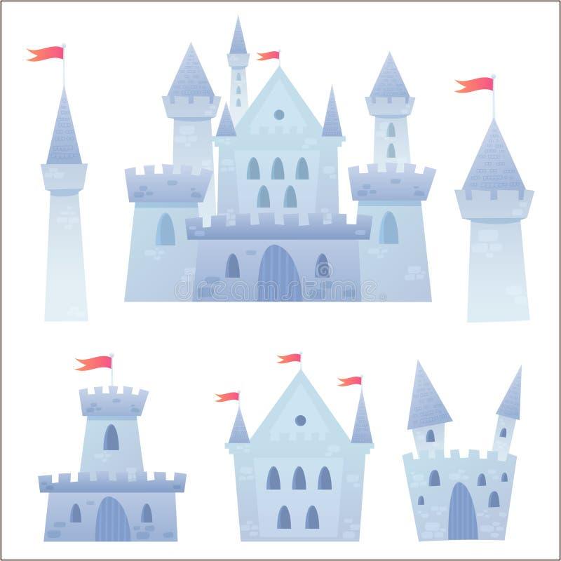Castelo medieval do vetor bonito dos desenhos animados ilustração royalty free