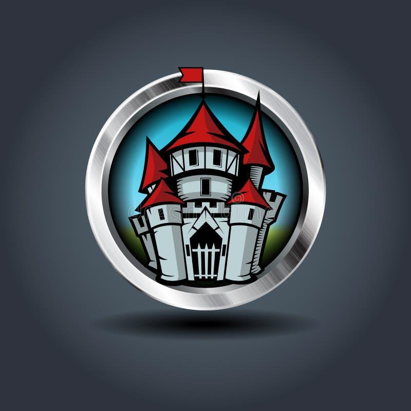Castelo medieval dos desenhos animados, ícone arredondado férreo do crachá Para o jogo de Ui ilustração stock