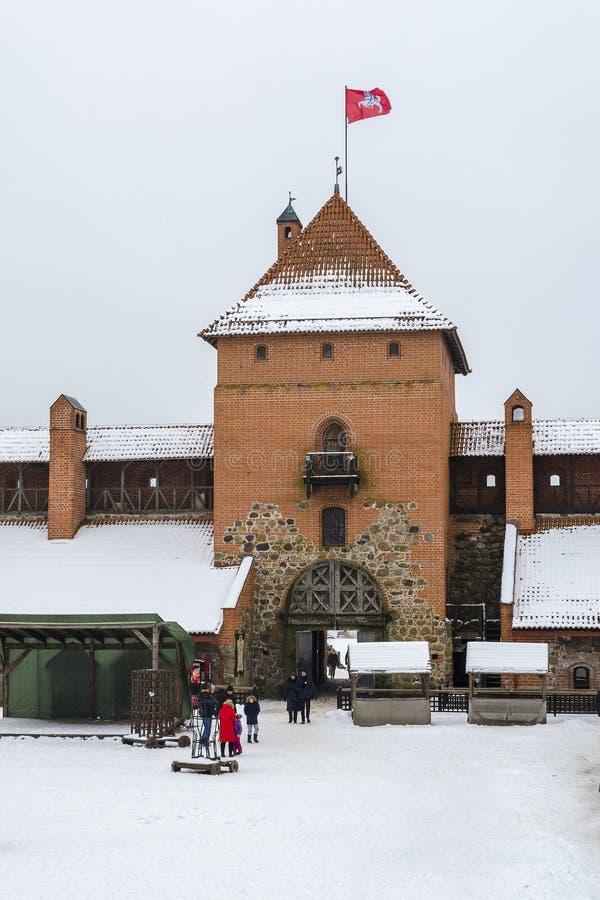 Castelo medieval famoso em Trakai fotografia de stock