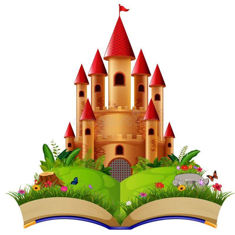 Castelo no livro de histórias ilustração do vetor