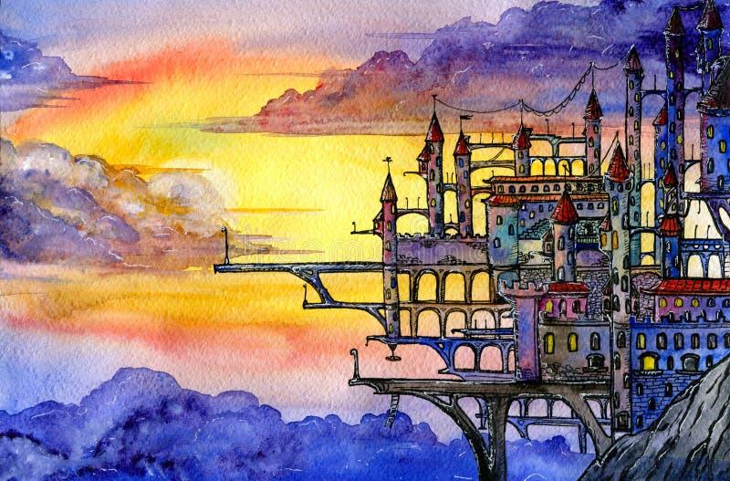 Castelo no penhasco ilustração royalty free