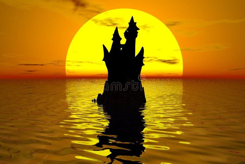 Castelo no por do sol ilustração do vetor