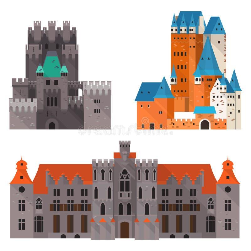 Castelo ou citadela medieval, palácio medieval do forte ilustração royalty free